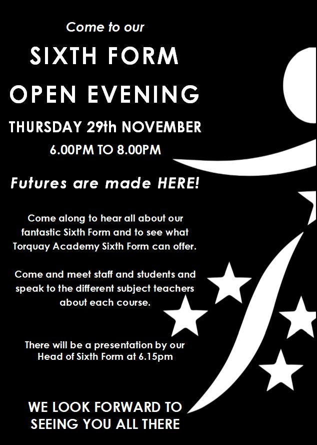 Sixth Form Open Evening 29.11.18