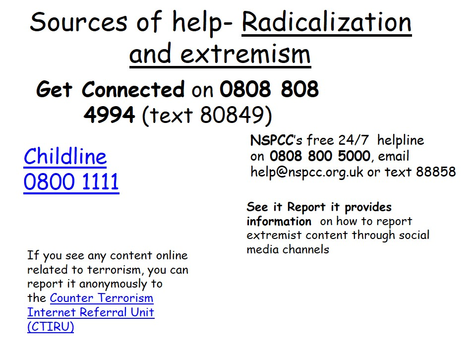 Source of Help Radicalization and Extremism