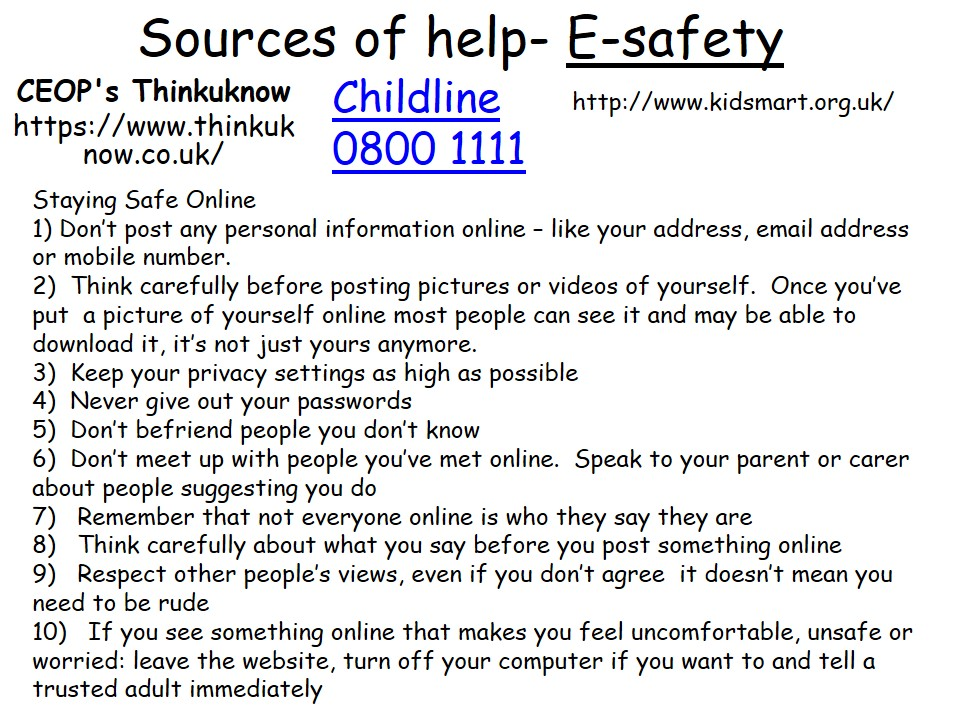 Sources of Help E-Safety