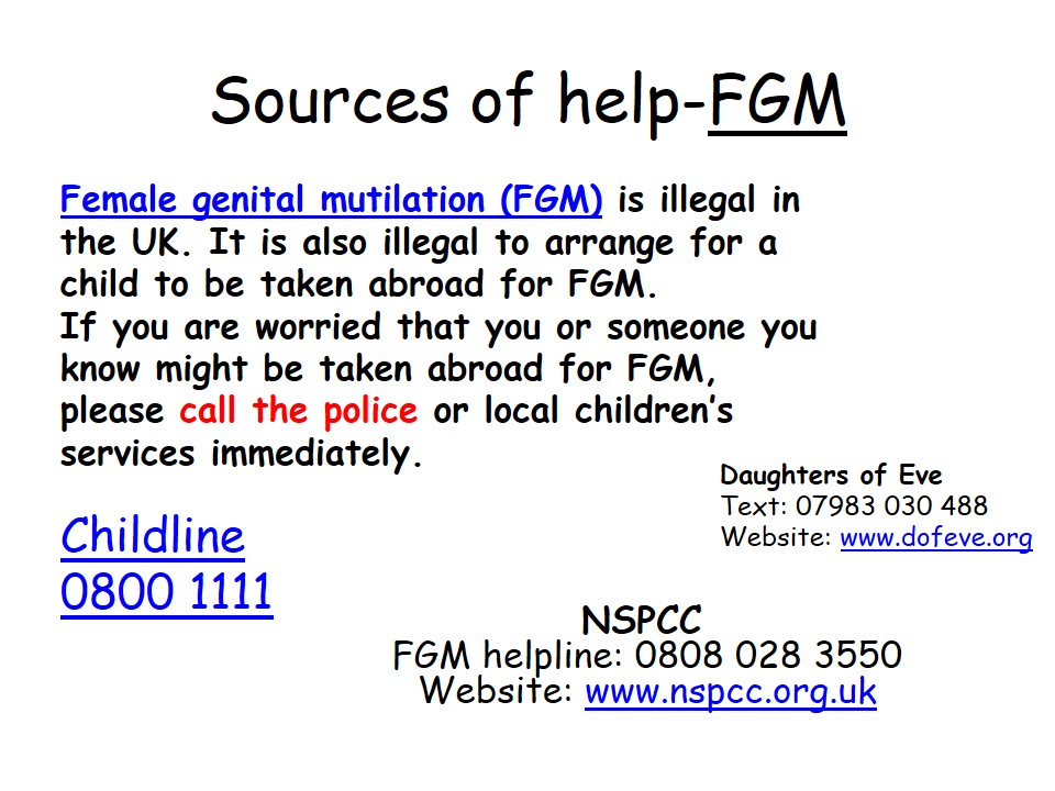 Sources of Help FGM