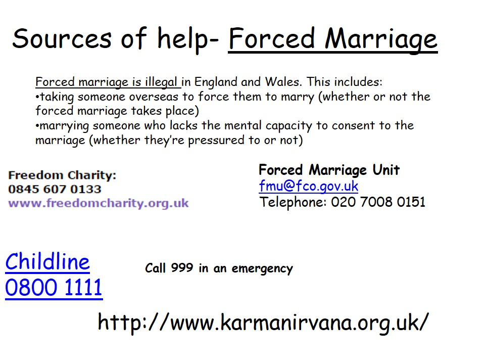 Sources of Help Forced Marriage