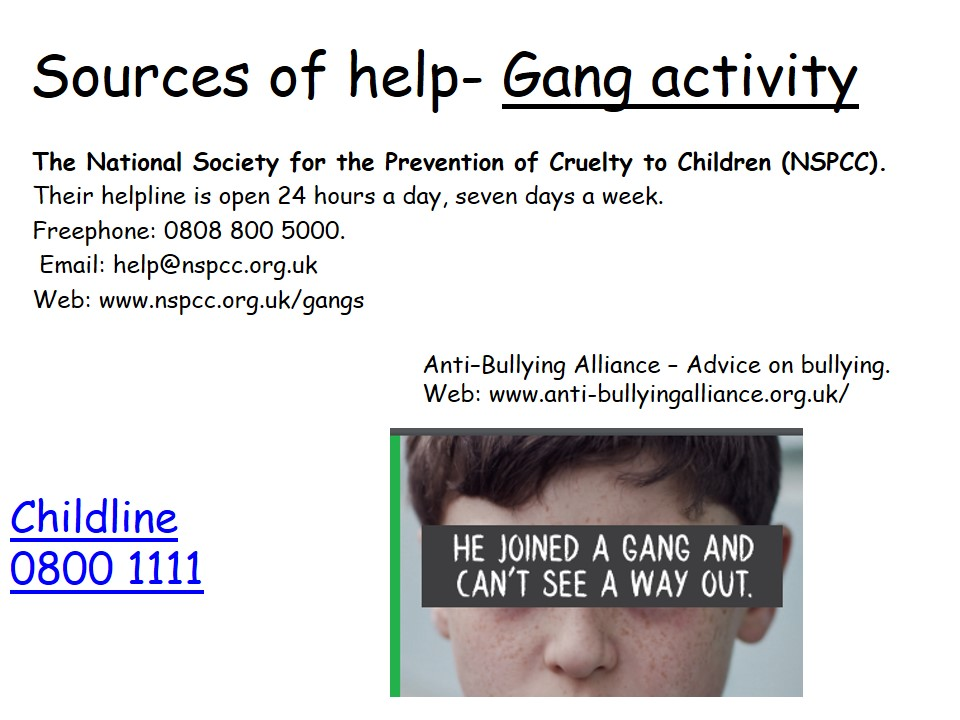 Sources of Help Gang Activity