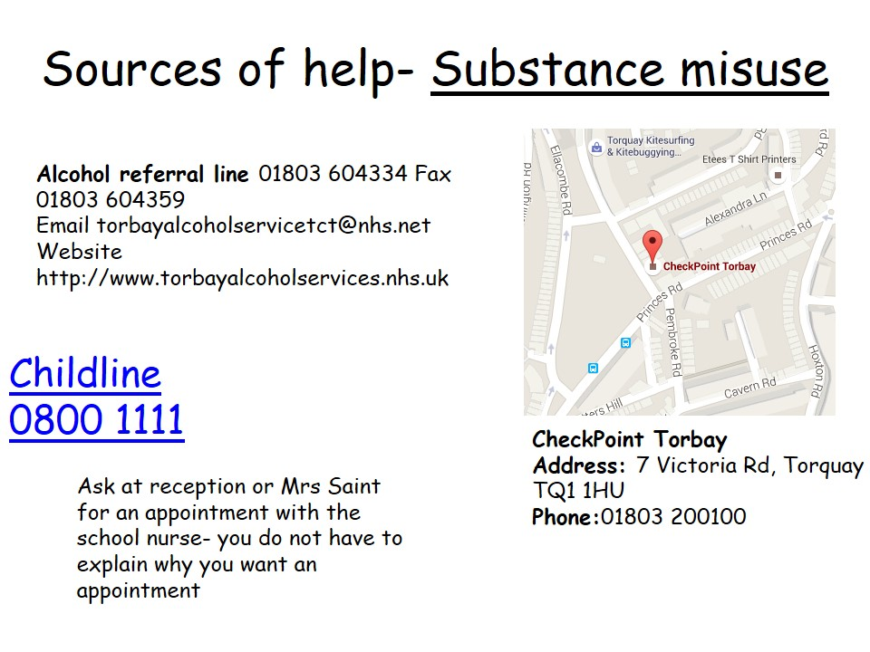 Sources of Help Substance Misuse