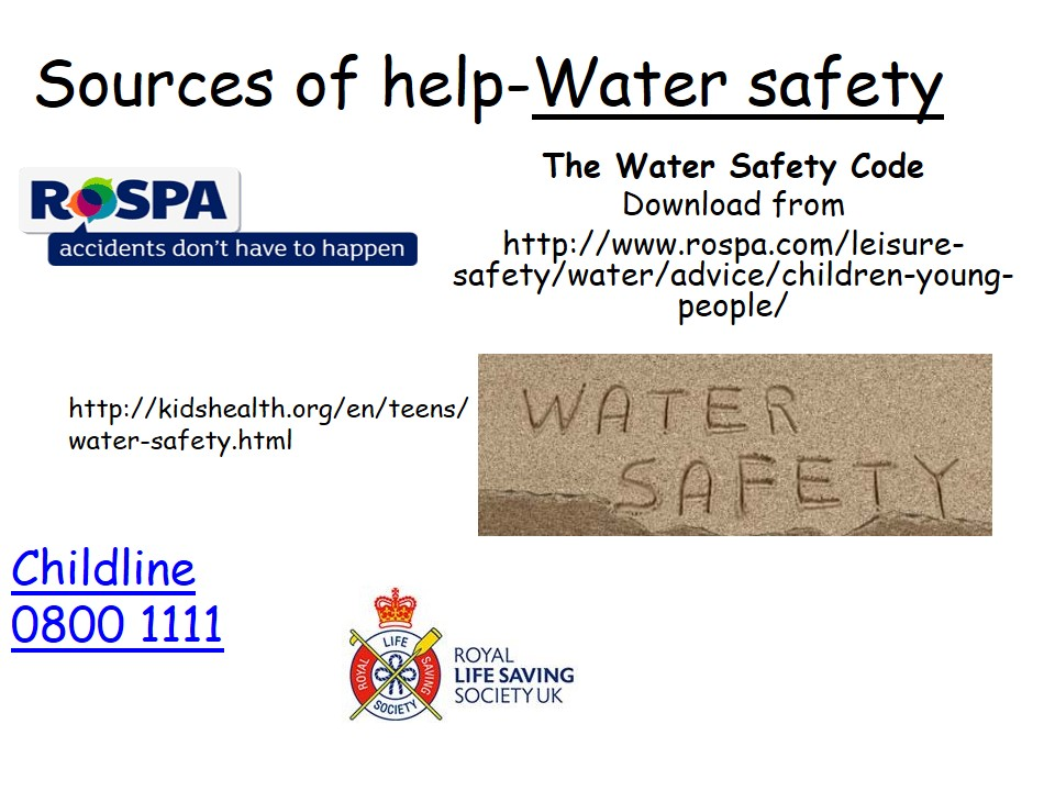 Sources of Help Water Safety