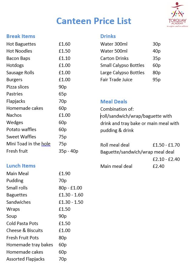 Canteen Price List Sept 2017