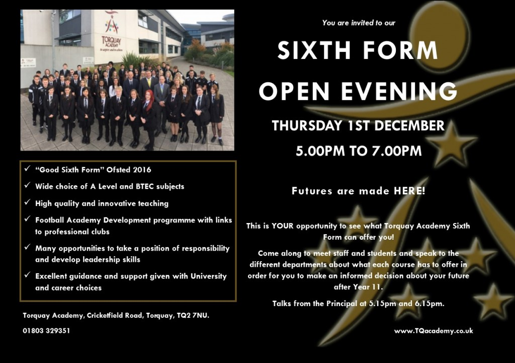 11.11.16 6th F Open Evening  Invite