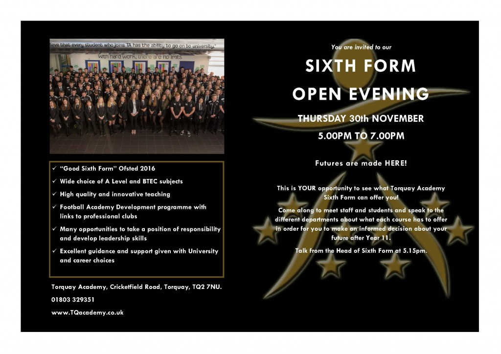 6th Form Invitation 2017