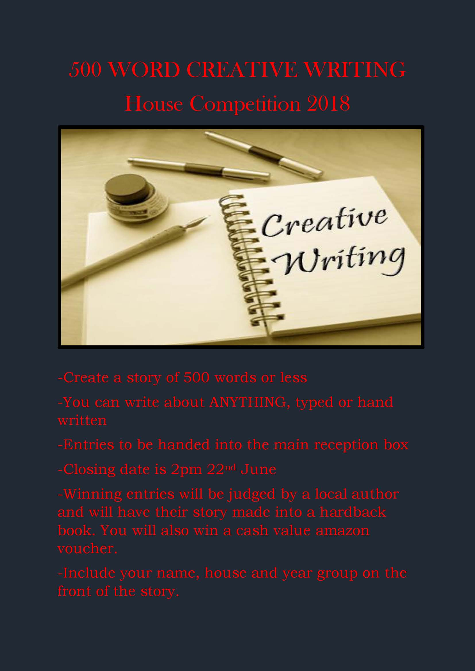 500 WORD CREATIVE WRITING POSTER