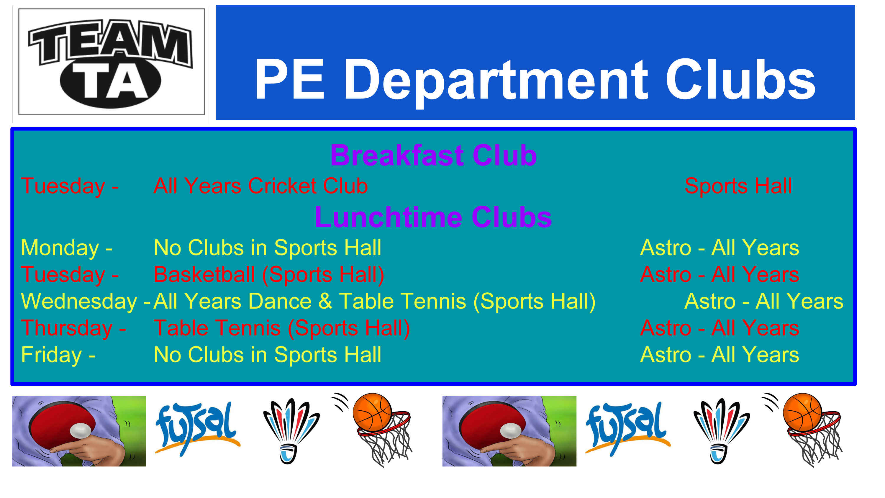 PE Department Clubs 1