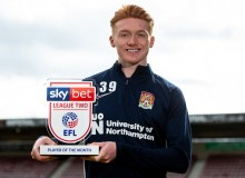 Callum Morton of Northampton Town with the Sky Bet League Two Player of the Month award 100320